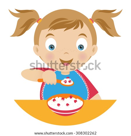 Girl with a bowl of porridge and holding a spoonful of porridge. Vector illustration - stock vector