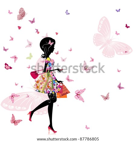 girl with a flower shop in - stock vector