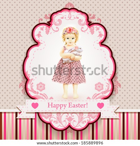 Girl with a rabbit on the vintage background. Happy Easter! Girl in a wreath and a polka dot dress. Vintage background with pink stripes and a mug. - stock vector