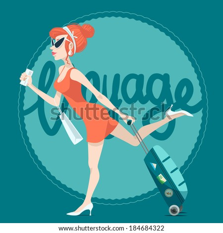 girl with a suitcase - stock vector