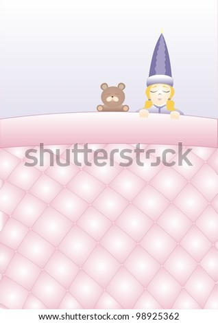 girl with a teddy bear sleeping under a blanket quilted - stock vector