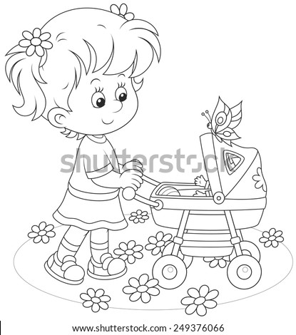 Girl with a toy baby buggy - stock vector