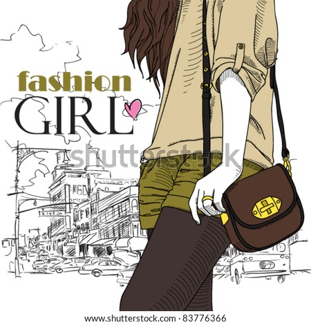 Girl with bag on a city-background. Vector illustrator. Place for your text. - stock vector