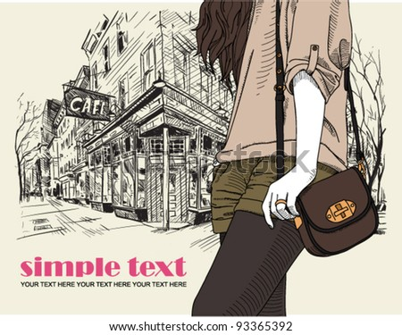 Girl with bag on a street-cafe background. Vector illustrator. - stock vector
