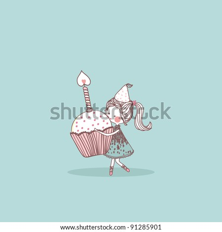 girl with birthday cupcake - stock vector