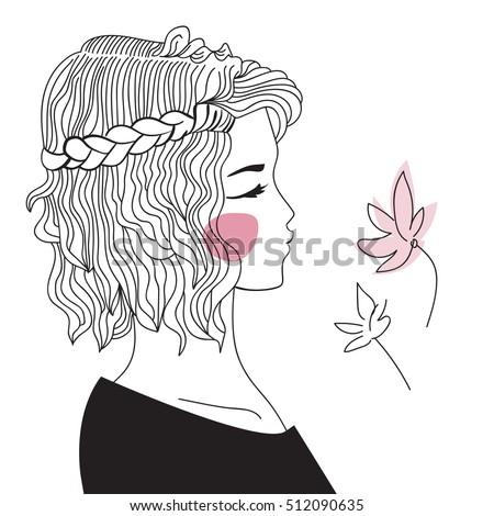 Girl Braided Hair Oblique Woman Face Stock Vector 512090635 ...