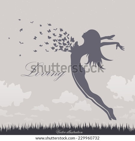 girl with butterflies in a jump up - stock vector