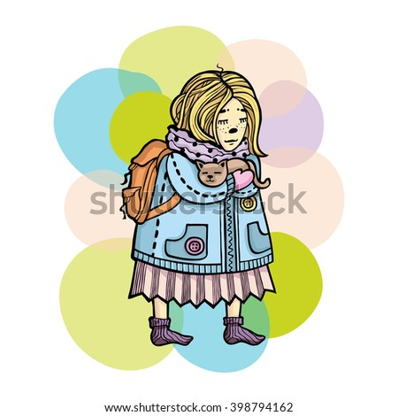 Girl with cat. Cute vector hand drawn card for friends, birthdays and children holidays. Colorful image. - stock vector