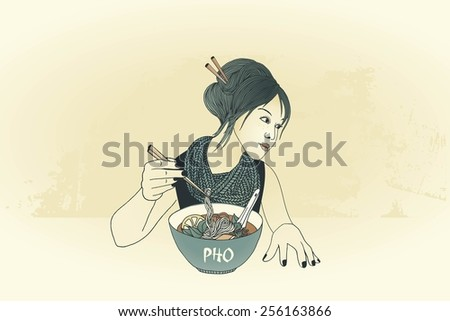 Girl with chopsticks eating noodle soup - stock vector