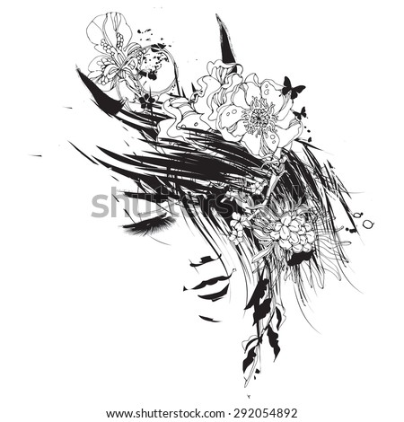 Girl with closed eyes - stock vector