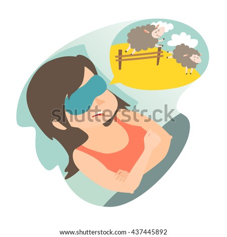 Girl with counting sheep. Stress, problem of sleep, insomnia concept. Cartoon woman in bad. Sheep jumping over the fence. Vector illustration on white background. Flat sticker. - stock vector
