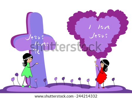 Girl with cross and tree .Jesus loves me-Vector illustration - stock vector