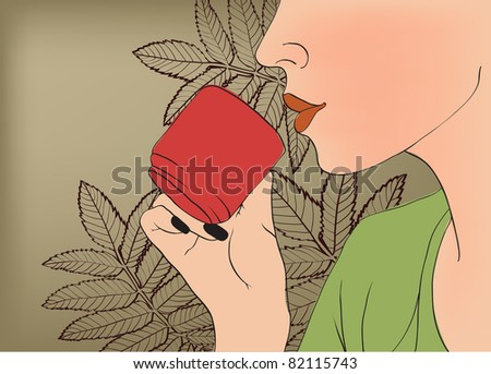 girl with cup of tea - stock vector