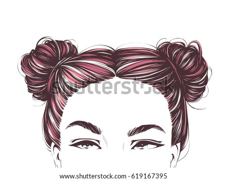 Girl With Cute Two Buns Hairstyles Vector Hand Drawn Illustration