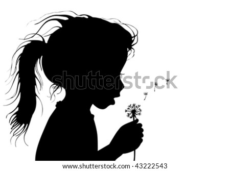 girl with dandelion - stock vector
