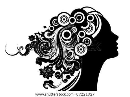 Girl With Floral Hair - stock vector