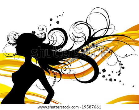 Girl with floral haircut, vector illustration, EPS file included - stock vector