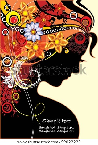 girl with flowers - stock vector