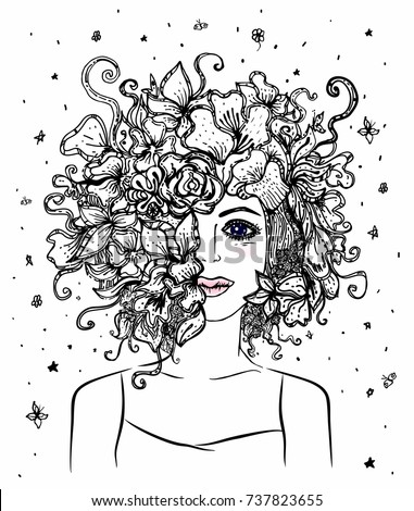 Girl Flowers Coloring Book Pages Portrait Stock Vector 737823655 ...
