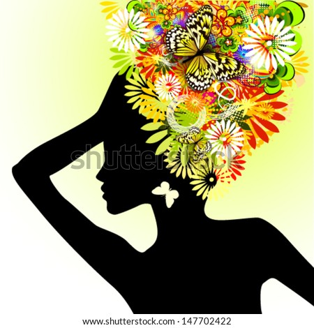 Girl with flowers on her head. Vector