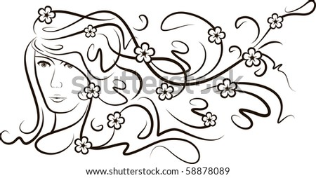 Girl with flutter hair and flowers. - stock vector