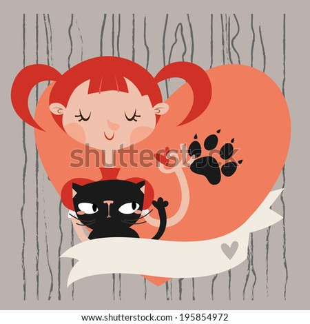 Girl with her cat card/background template with place for your text. - stock vector