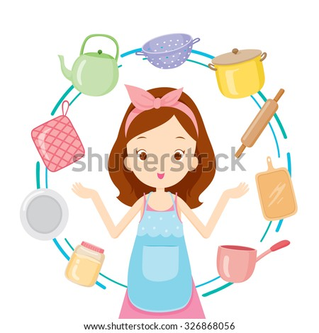 Girl With Kitchen Equipments, Kitchen, Kitchenware, Crockery, Cooking, Food, Bakery, Lifestyle - stock vector