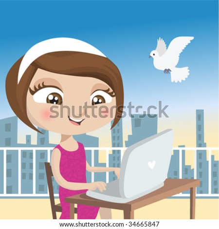 girl with laptop - stock vector