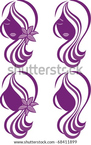 Girl with lily, vector logo design - stock vector