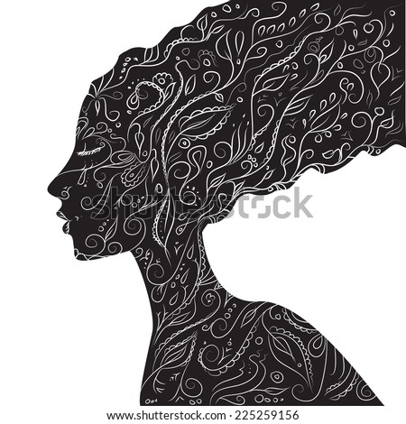 girl with long black hair covered ornamets, black and white, vector - stock vector