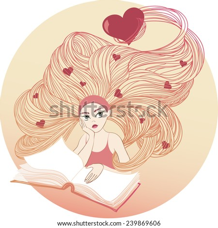 Girl with long hair and hearts in hair over an open book dreams of love - stock vector