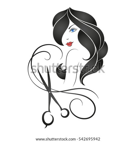 Girl with long hair and scissors, silhouette for beauty shop