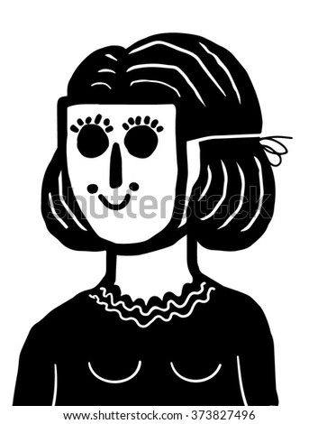 Girl with mask - stock vector