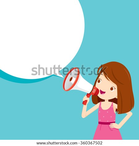 Girl With Megaphone Announcement And Speech Bubble, Commercial, Promotion, Event, Ad, Marketing, Announcer - stock vector