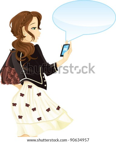 Girl with mobile phone and text message - stock vector