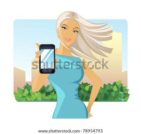 Girl with phone - stock vector
