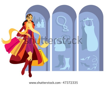 Girl with shopping bags in front of window display - stock vector