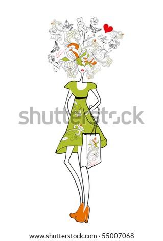 Girl with shopping girl - stock vector