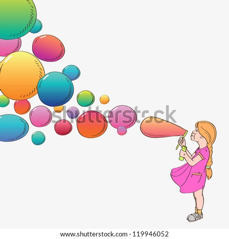 Girl with soap bubbles, vector illustration - stock vector