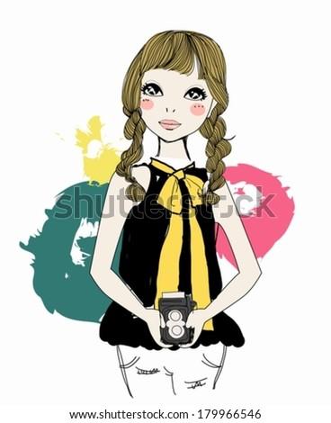 Girl with vintage film camera - stock vector