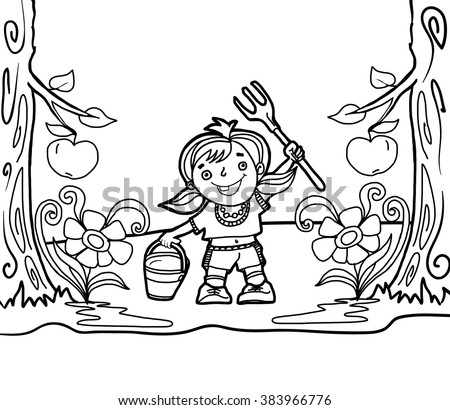 Girl with watering can and rake in the garden of apple trees, coloring picture - stock vector