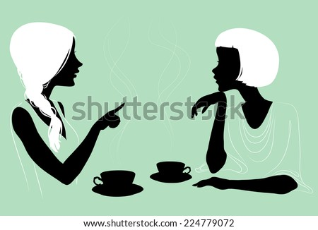 Girlfriends enjoys a hot tea in the cafe with two cups, silhouettes. - stock vector