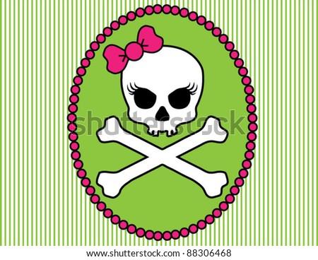 Girlie Skull and Crossbones Cameo - stock vector
