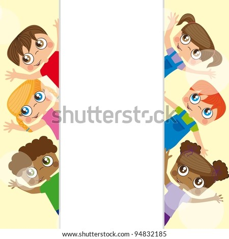 Girls and boys behind white billboard, Vector Illustration - stock vector