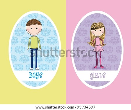 girls and boys circle sign restroom. vector illustration - stock vector