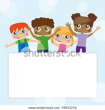 Girls and boys illustration background, space to insert text or design - stock vector