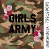 girls army with rose flowers...