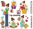 girls at shopping items set on white background - stock vector