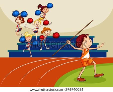 Girls cheering a man in an indoor stadium - stock vector