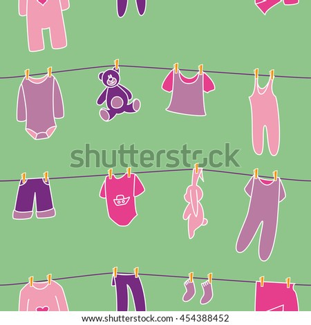 Girls' clothes and toys drying on the clothesline. Vector seamless pattern. - stock vector